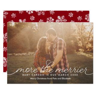 Más la tarjeta de Navidad más feliz del embarazo Invitación 12,7 X 17,8 Cm