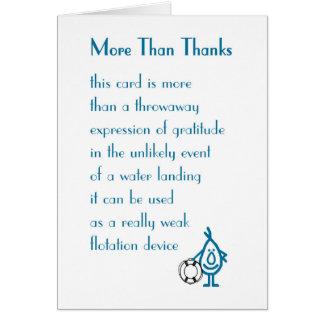 Más que gracias - un divertido le agradece poema tarjeta