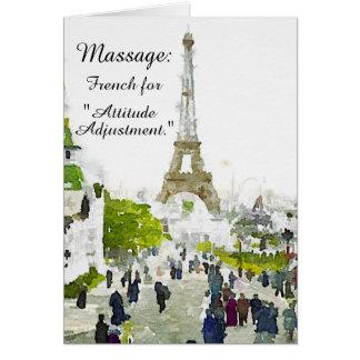 """Masaje - franceses para el """"ajuste de la actitud """" tarjeta de felicitación"""