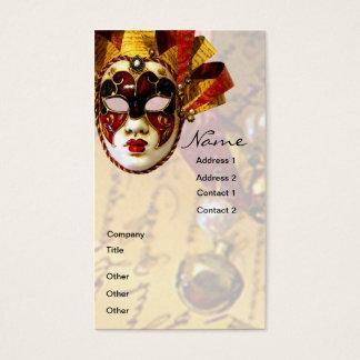 Máscara, actor y teatro del carnaval tarjeta de visita