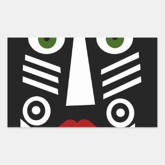 Máscara africana pegatina rectangular
