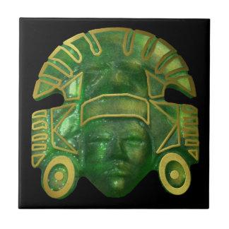 Máscara azteca antigua de Sun Azulejo Cuadrado Pequeño