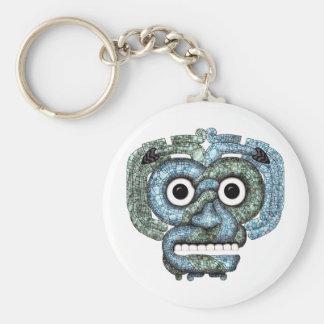 Máscara azteca de Tlaloc del mosaico Llavero Redondo Tipo Chapa