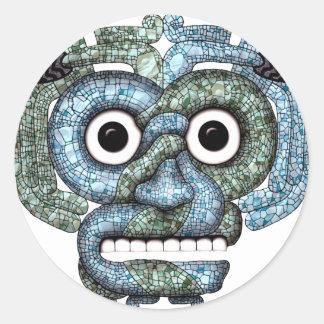 Máscara azteca de Tlaloc del mosaico Pegatina Redonda