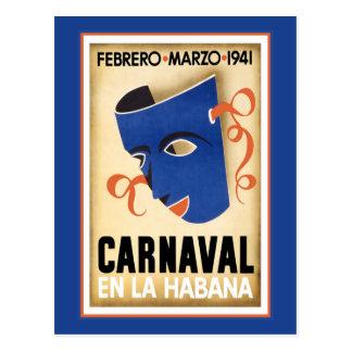 Máscara azul para Carnaval Tarjetas Postales