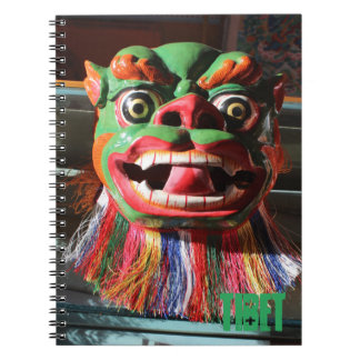Máscara budista tibetana del festival cuaderno