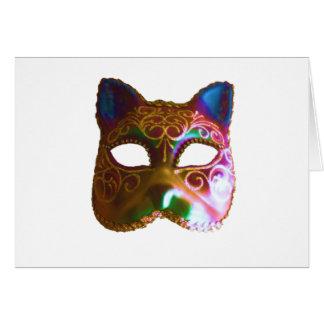 Máscara colorida del gato tarjeta de felicitación
