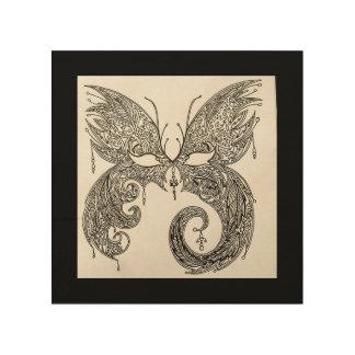 Máscara de la mascarada de la mariposa impresión en madera