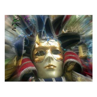 Máscara de la mascarada de los colores postal