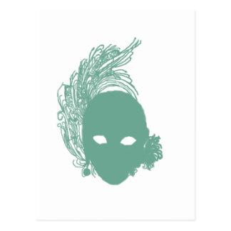 Máscara de teatro verde postal