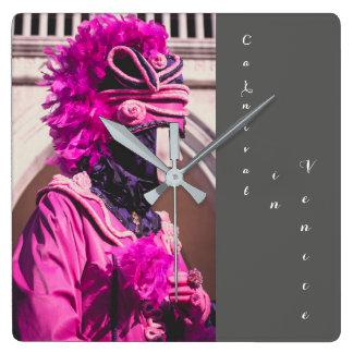 Máscara del carnaval en Venecia Reloj Cuadrado