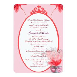Máscara del la de Quinceanera del rosada de Invitación 12,7 X 17,8 Cm