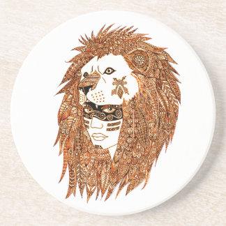 Máscara del león posavasos de arenisca