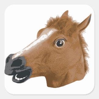 Máscara espeluznante de la cabeza de caballo colcomanias cuadradases