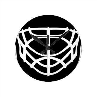 Máscara negra del hockey reloj redondo mediano