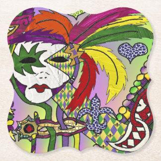 Máscara psicodélica de la pluma del carnaval posavasos de papel