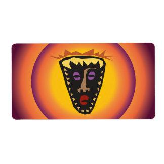 Máscara tribal Sun que brilla intensamente de la Etiqueta De Envío