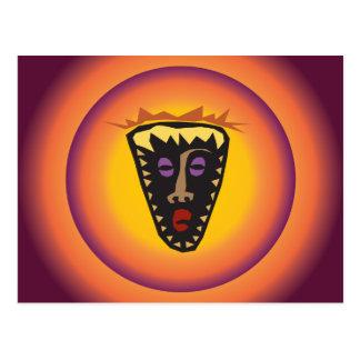 Máscara tribal Sun que brilla intensamente de la Postal