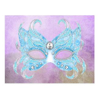 Máscara veneciana de los azules claros postal