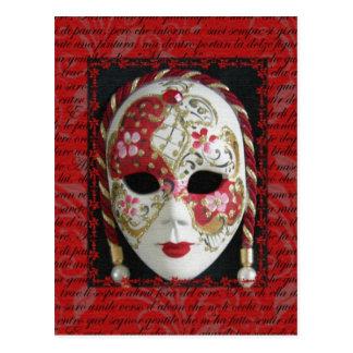 Máscara veneciana postal