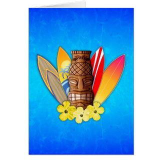 Máscara y tablas hawaianas de Tiki Felicitación