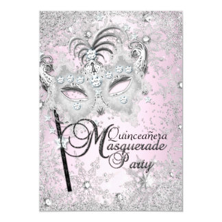 Mascarada rosada de plata Quinceanera de la Invitación 12,7 X 17,8 Cm