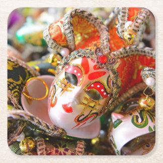 Máscaras de la mascarada del carnaval en Venecia Posavasos De Papel Cuadrado