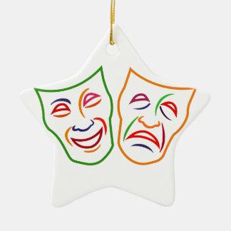 Máscaras de la tragedia de la comedia adorno navideño de cerámica en forma de estrella