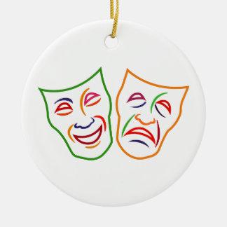 Máscaras de la tragedia de la comedia adorno navideño redondo de cerámica