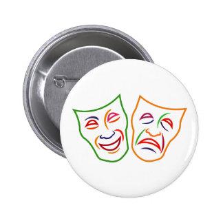 Máscaras de la tragedia de la comedia chapa redonda de 5 cm
