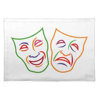 Máscaras de la tragedia de la comedia manteles individuales