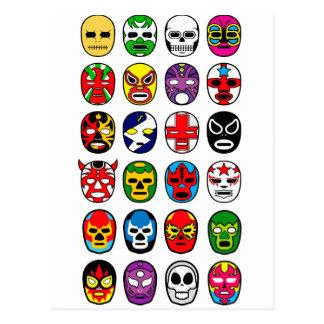 Máscaras de lucha mexicanas de Lucha Libre Luchado Tarjetas Postales