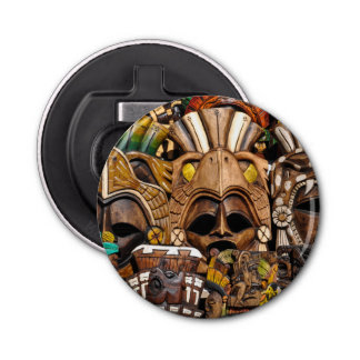 Máscaras de madera mayas en México Abrebotellas Redondo
