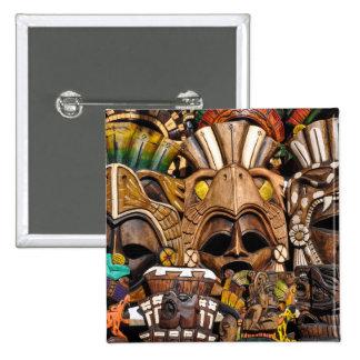 Máscaras de madera mayas en México Chapa Cuadrada