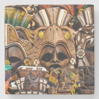 Máscaras de madera mayas en México Posavasos De Piedra