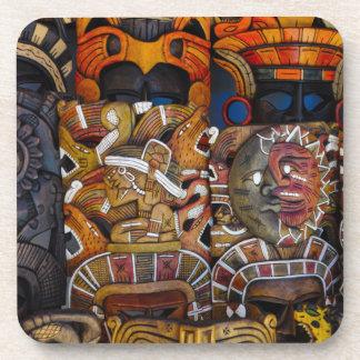 Máscaras de madera mayas en México Posavasos Para Bebidas