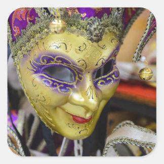 Máscaras del carnaval en Venecia Italia Pegatina Cuadrada