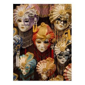 Máscaras del carnaval en Venecia Italia Postal