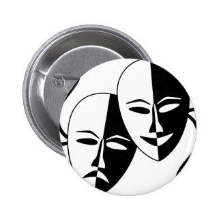 Máscaras del teatro chapa redonda de 5 cm