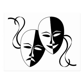 Máscaras del teatro de la comedia y de la tragedia postal