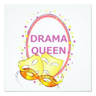 Máscaras del teatro de la reina del drama invitación 13,3 cm x 13,3cm