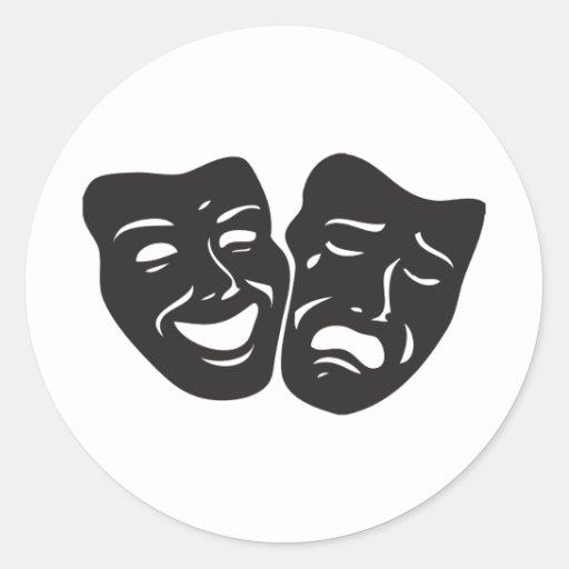 Máscaras del teatro del drama de la tragedia de la pegatinas redondas