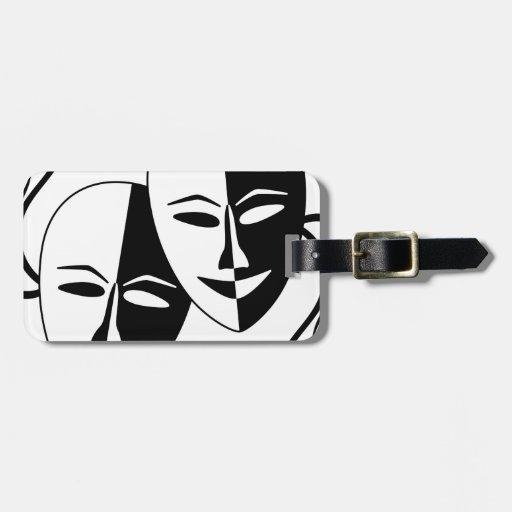 Máscaras del teatro etiquetas de equipaje