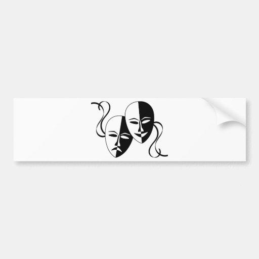 Máscaras del teatro etiqueta de parachoque