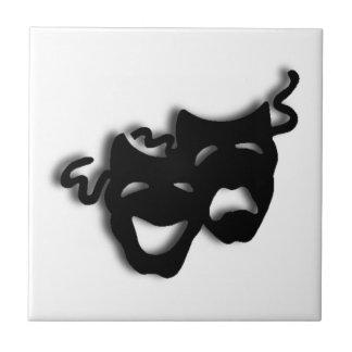 Máscaras negras de la comedia y de la tragedia azulejo cuadrado pequeño