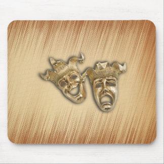 Máscaras rústicas del teatro de la comedia y de la alfombrilla de ratón