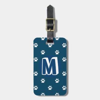 Mascota con monograma azul etiquetas para maletas