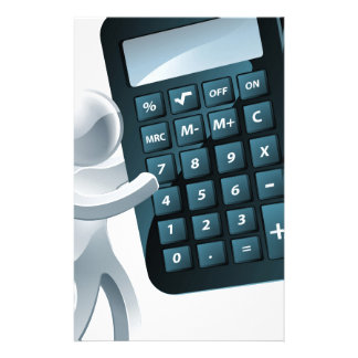 Mascota de plata que sostiene una calculadora papelería de diseño