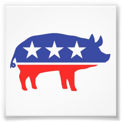 Mascota del cerdo del fiesta político cojinete