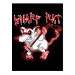 Mascota del dibujo animado de la rata de muelle tarjeta postal